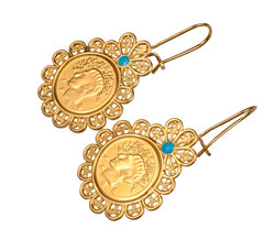 Coin Earrings for Women Gold Colour Earring Arab Coins