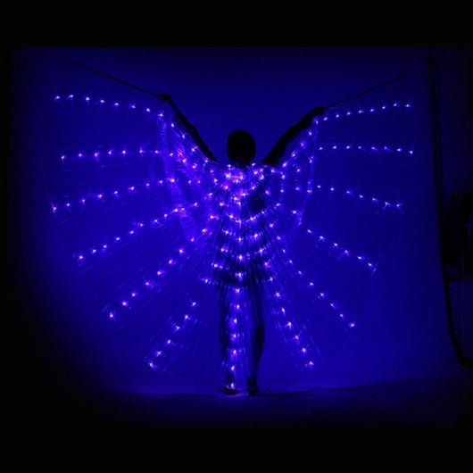 Colourful Led Isis Wings Adjustable Sticks Belly Dance 360 Degrees