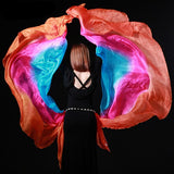 100% Semi Circle Silk Belly Dance Costume Gradient Double Veils 2pc