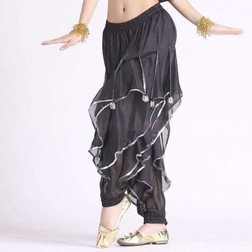 Belly Dance Costume Wave Harem Pants with Silver Sequin