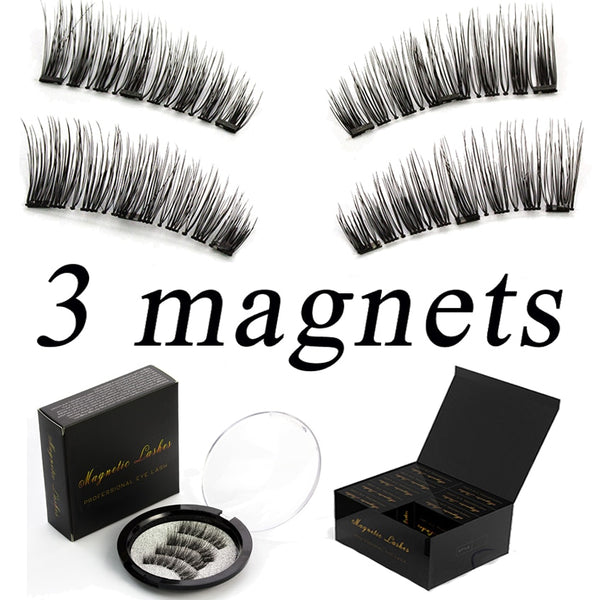 Magnetic eyelashes 6D magnet lashes with 3 tiny magnets Natural False Eyelashes