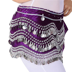 Belly Dance Clothing Hip Scarves Coins Belt Velvet Hips Scarf
