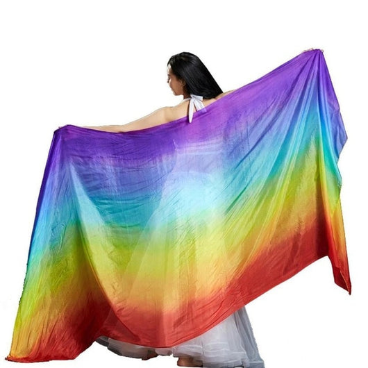 100% Silk Rectangle Belly Dance Silk Veils Rainbow Colours