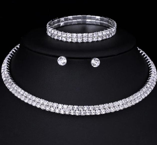 Classic Silver Colour Crystal Bridal Jewellery Sets Rhinestone Wedding Necklace Earrings Bracelet Sets