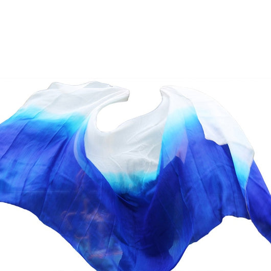 100% Silk Rectangle Belly Dance Veils Scarf Shawl Gradient 3 Sizes