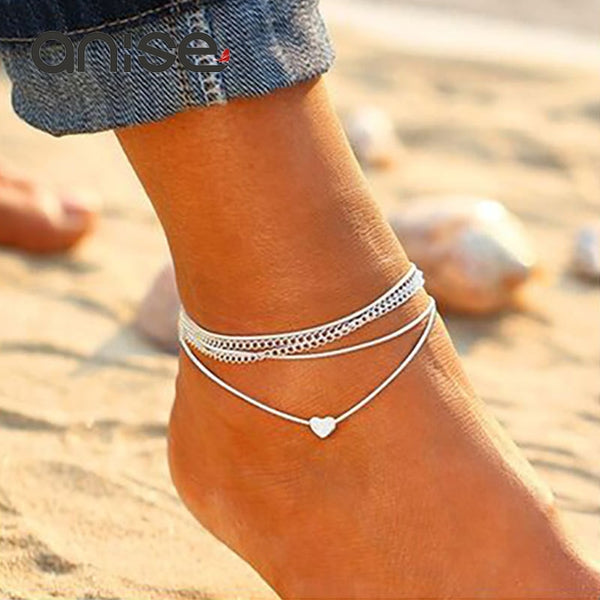 Minimalist Ladies Anklet Silver love Heart Foot Chain Charm Anklet