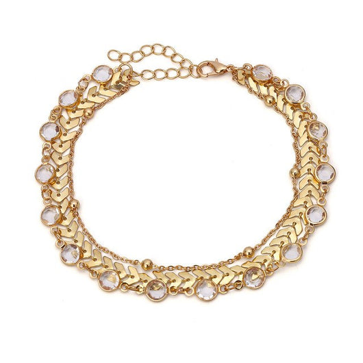 Gold Anklet Crystal Beads Ankle Bracelet Foot Chain