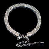 Sparkling Silver Crystal Collar Chain Choker Necklace