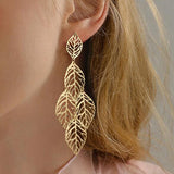 Gypsy Gold Colour Hollow Leaf Coin Pendant Earrings for Women