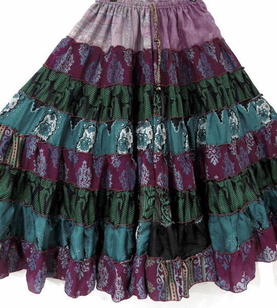 Hippie Silk Blended Frill Skirt - DARK SHADES