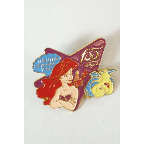 Disney Japan Pin Walt 100 Magic Le 3000 Little Mermaid Ariel & Flounder - K23Japan -Tokyo Shopper-