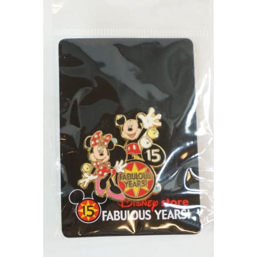Disney Store Japan Pin 15Th Anniversary Mickey & Minnie - K23Japan -Tokyo Shopper-