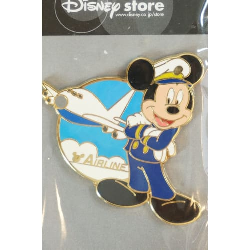 Disney Store Japan Pin Mickey As Pilot Air Line - K23Japan -Tokyo Shopper-