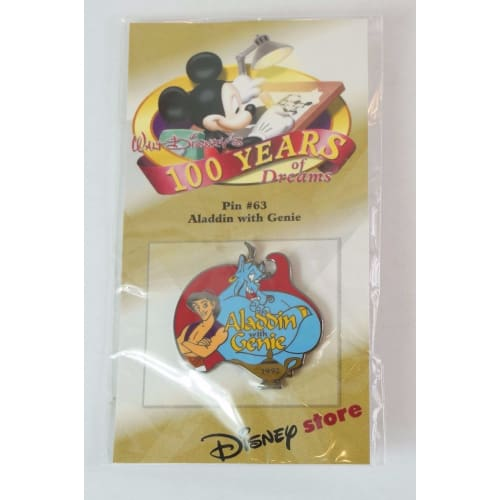 Disney Store Japan Pin Walt 100Th Dreams #63 Aladdin 1992 Genie - K23Japan -Tokyo Shopper-