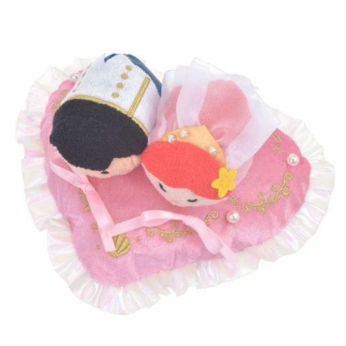 Disney Store Japan Tsum 2018 Ariel & Eric Heart Cushion Set - K23-Japan