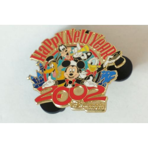 Disney World Pin Happy New Year 2002 Mickey Donald Goofy Pluto Dlr - K23Japan -Tokyo Shopper-