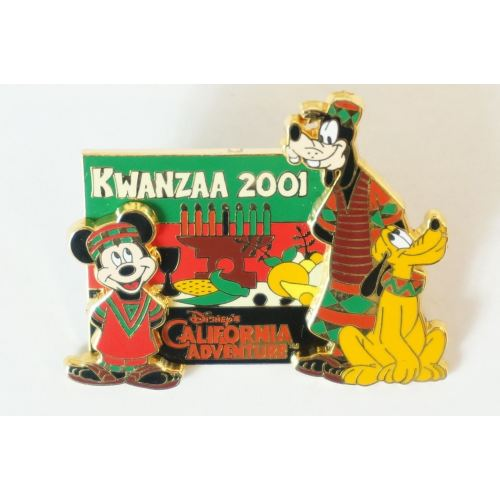 Disney World Pin Le 1200 Kwanzaa 2001 Mickey Goofy Pluto Dca - K23Japan -Tokyo Shopper-