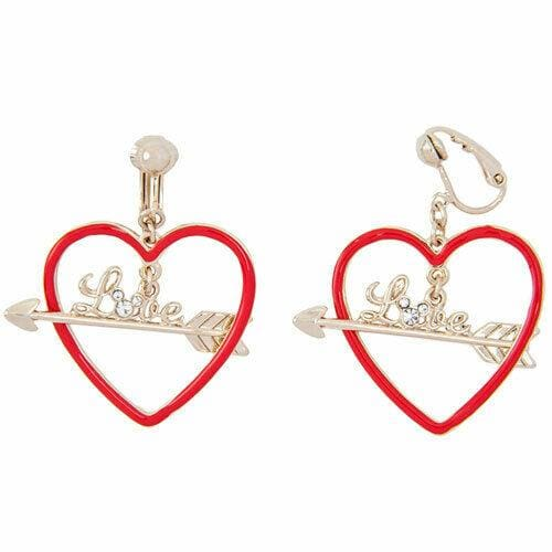 Pre-Order Tokyo Disney Resort 2019 Earrings Mickey Shape Red Heart Arrow - k23japan -Tokyo Disney Shopper-