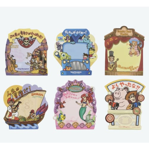 Pre-Order Tokyo Disney Resort Attraction Sticker Memo Note Set 6 Pics #B - k23japan -Tokyo Disney Shopper-