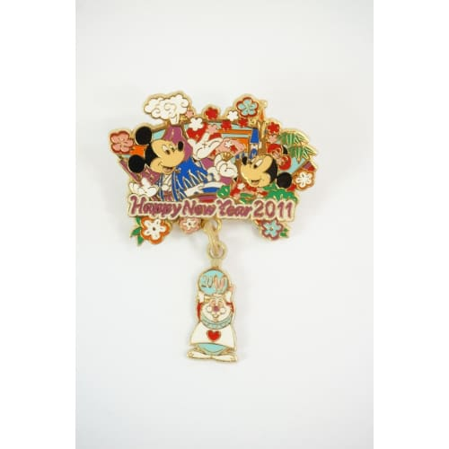 Tokyo Disney Resort Pin Happy New Year Rabbit 2011 Mickey Minnie White - K23-Japan