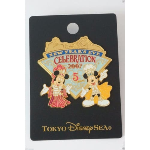 Tokyo Disney Resort Pin Tds 5Th New Years Eve Celebration 2007 Mickey Minnie - K23Japan -Tokyo Shopper-