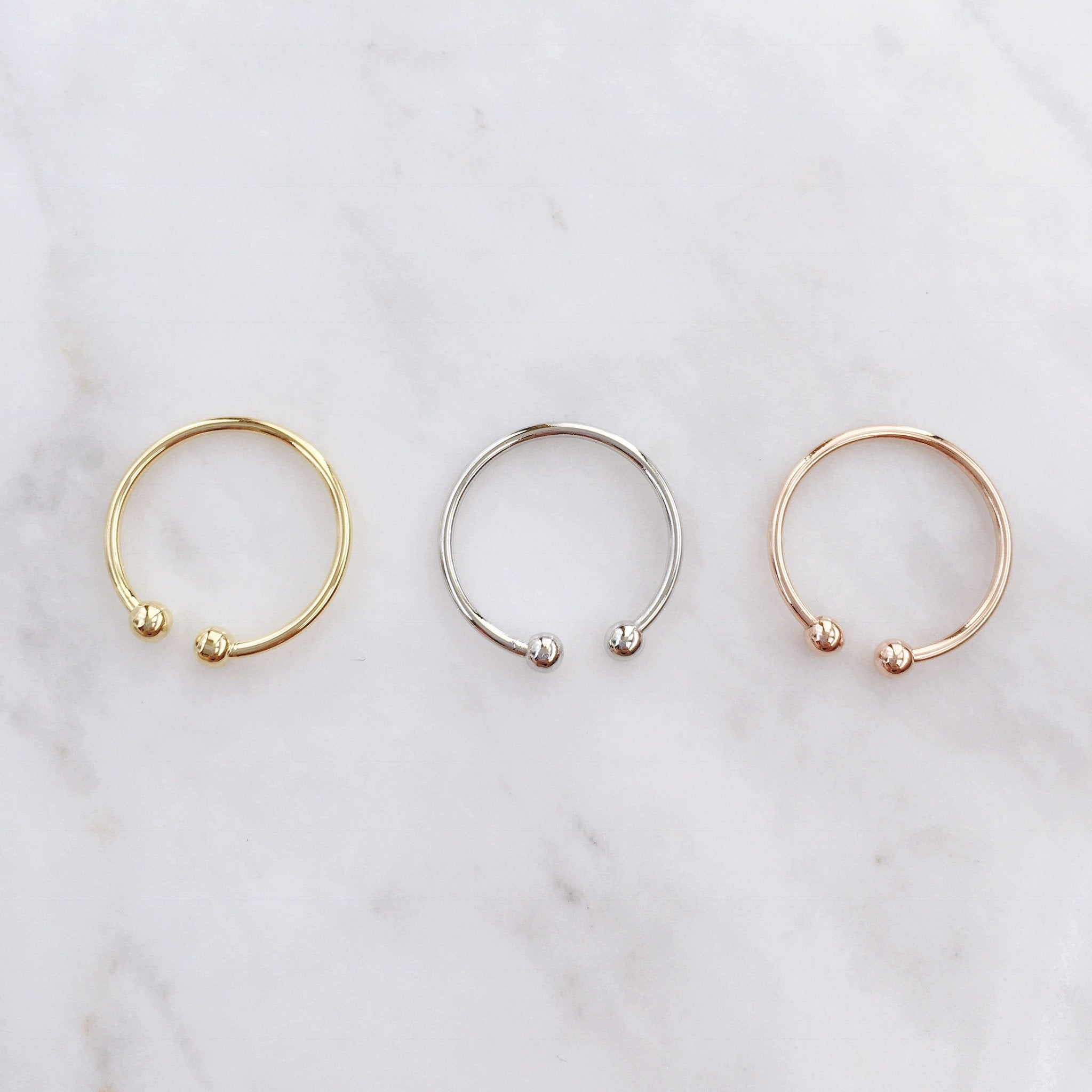 Parallel Ball Midi Ring