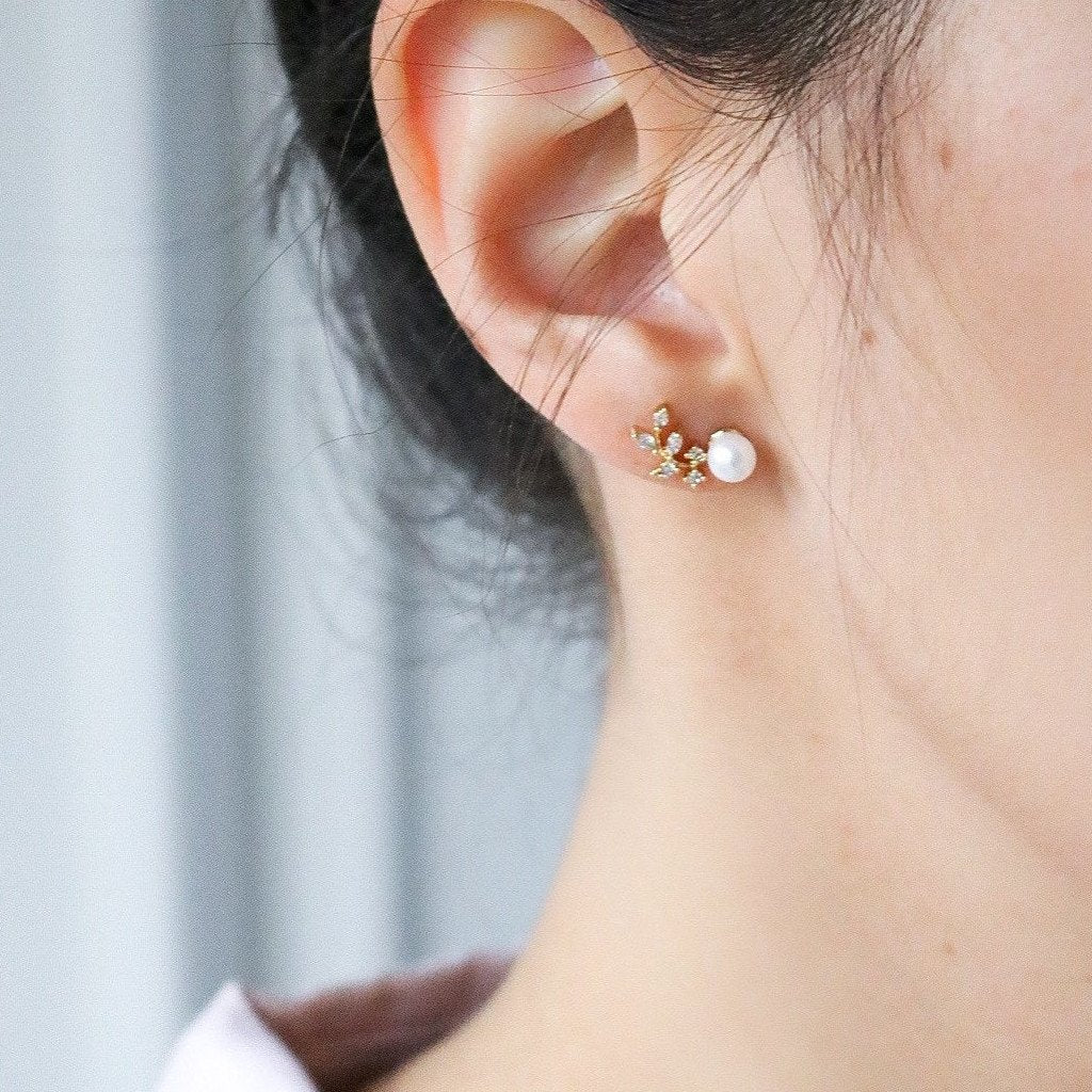 Crystal Leaf Ear Climber