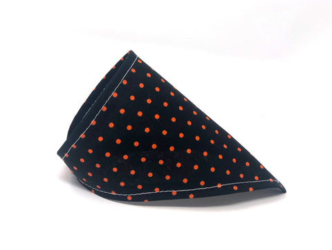 Halloween Cat Bandana — Black with Orange Polka