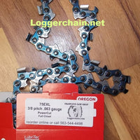 "75EXL116G 36"" 3/8 pitch .063 gauge 116 DL PowerCut Full chisel saw chain"
