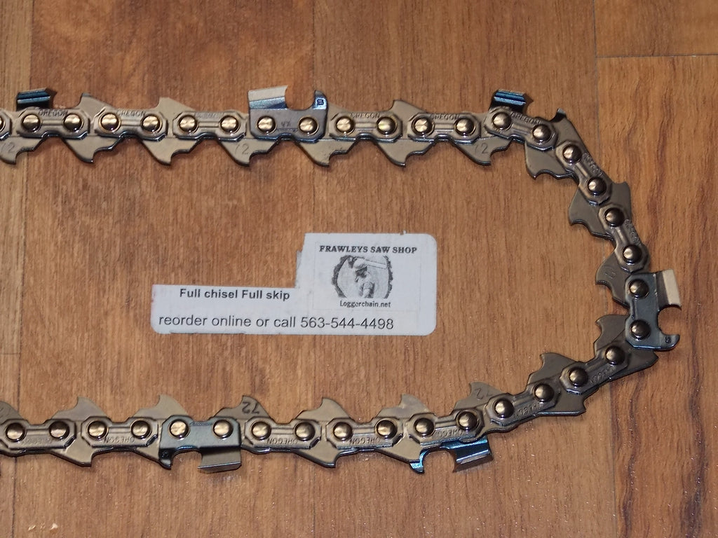 72JPX Oregon round ground full skip full chisel replacement saw chain loggerchain.net