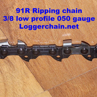 "91R062 18"" 3/8 LP pitch .050 gauge 62 DL RipCut Ripping saw chain"
