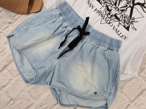 Chambray Denim Shorts Bleach