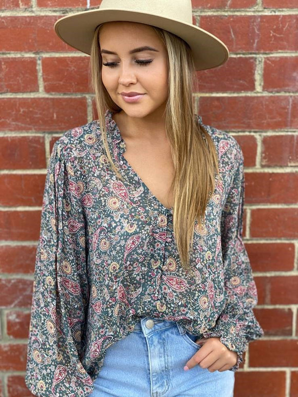 Point Paisley Blouse