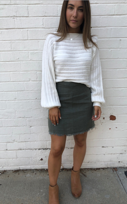 Linen Frayed Skirt