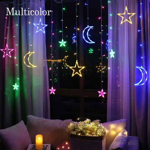 Moon and Star Curtain String Light