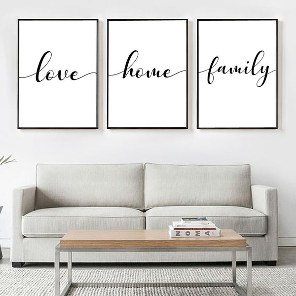 Home - Love - Family Calligraphy Lettered Wall Poster