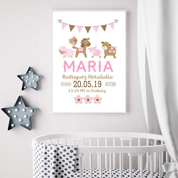 Pink Baby Birth Custom Poster Nursery Cartoon Animal Print Canvas Painting Wall Art Picture Nordic Kids Girl Bedroom Decoratio