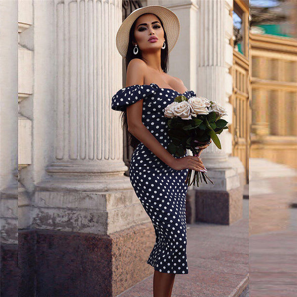 Women Dress 2019 New Summer Sexy Off Shoulder Short Sleeve polka dot dress woment Dress Tight Style Short Party Beach Dresses #1