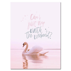 Scandinavian Pink Swan Sea Canvas Poster Abstract Wall Art Print Motivation Painting Nordic Decoration Picture Living Room Decor