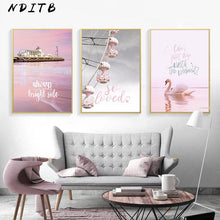 Load image into Gallery viewer, Scandinavian Pink Swan Sea Canvas Poster Abstract Wall Art Print Motivation Painting Nordic Decoration Picture Living Room Decor