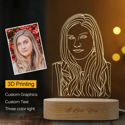 Customized 3D Night Light USB Wooden Base