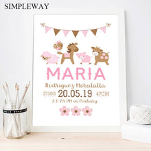 Load image into Gallery viewer, Pink Baby Birth Custom Poster Nursery Cartoon Animal Print Canvas Painting Wall Art Picture Nordic Kids Girl Bedroom Decoratio
