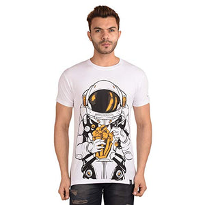 Ribbons and Mustache Cotton Planet Pocorn Printed T-Shirt for Men - Ribbons and Mustache