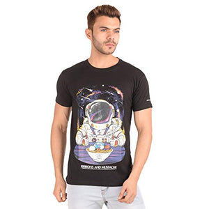 Ribbons and Mustache Cotton Planet Bowl Printed T-Shirt for Men - Ribbons and Mustache
