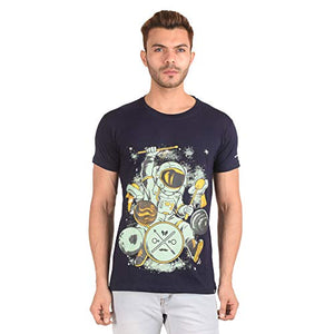 Ribbons and Mustache Cotton Galaxy Drummer Printed T-Shirt for Men - Ribbons and Mustache