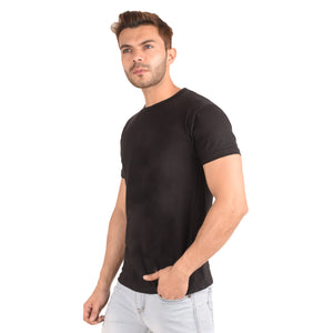 Black Half Sleeve T-Shirt - Ribbons and Mustache
