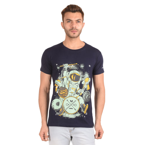 Galaxy Drummer Half Sleeve T-Shirt - Ribbons and Mustache