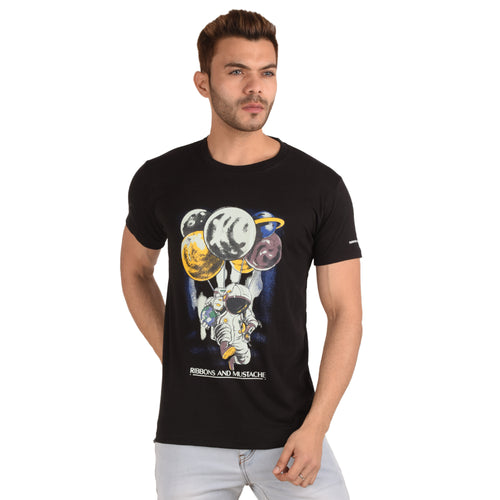 Planet Parachute Half Sleeve T-Shirt - Ribbons and Mustache