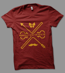 Ribbons and Mustache Half Sleeve T-Shirt - Ribbons and Mustache