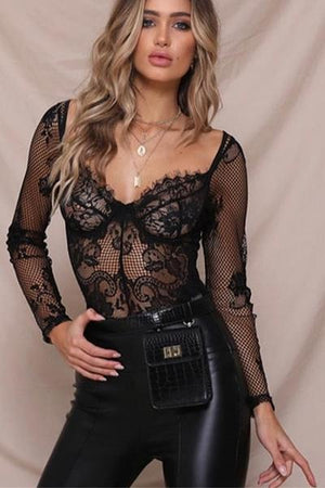 Long Sleeve Lace Bodysuits